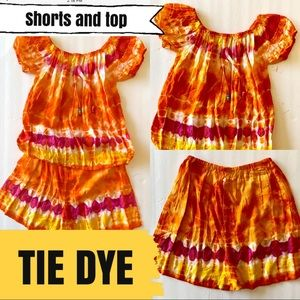 Girls size 3 shorts and top tie dye outfit